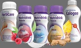 Butelki produktów Nutricia, Nutridrink, Calogen, Forticare