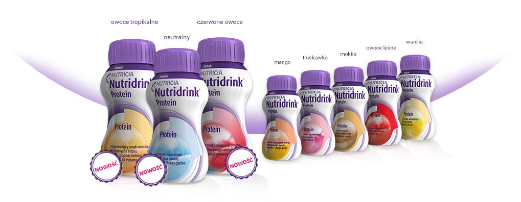 Grafika z butelkami Nutridrink - smaki